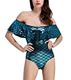 Girls Mermaid Bodysuit Tops Swimsuit Rufflesd One Piece Off Shoulder Leotards Fish ScalesApphire Blue L