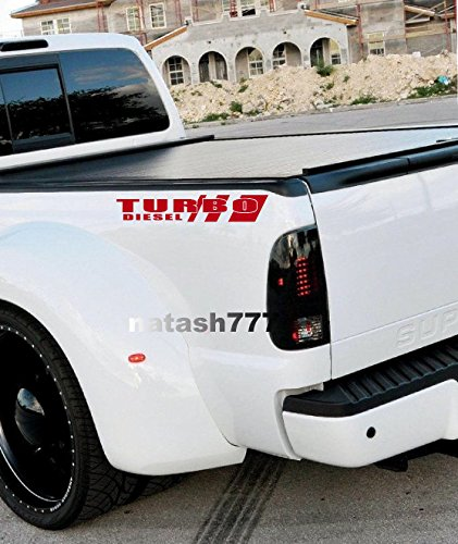 TRUCK TURBO DIESEL SPORT DECAL STICKER PICK UP TRUCK BED 4X4 (RED)