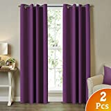 "TURQUOIZE Solid Blackout Drapes, Royal Purple/ Lavender Curtains, Themal Insulated, Grommet/Eyelet Top, Nursery/Girls Room Curtains Each Panel 52"" W x 96"" L"