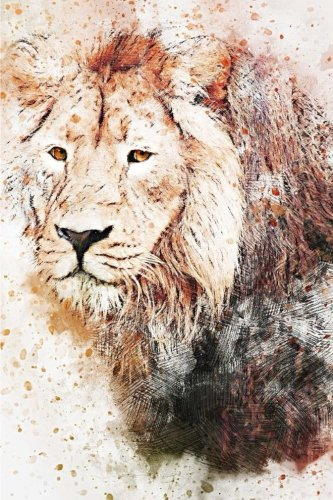 "Lion Notebook: 6"" x 9"" 150 Lined Pages Durable Glossy Softcover by Wild Pages Press"