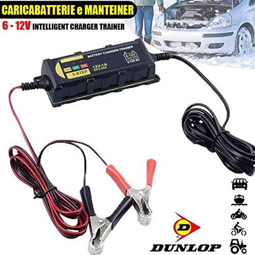 All Ride Caricabatterie e Manteiner Mantenitore Batteria Auto e Moto Portatile con Cavetti 6V e 12V Dunlop Lifetime Cars