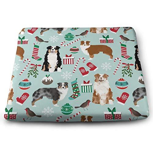 Square Seat Cushion, Non-Slip Memory Foam Home/Kitchen/Dining Chair Pads, Australian Shepherd Christmas Cute Aussie Dogs Fashion Decoration Cushion Durable Pads, 15 X 13.7 Inches