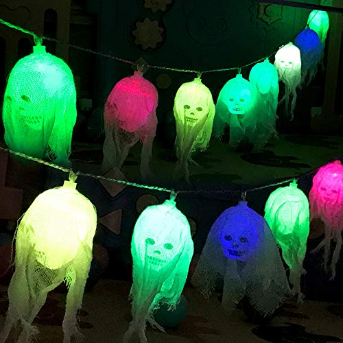 Halloween LED Lights Scary Skull Ghost Head Mesh LED Decor Lights Waterproof Battery Operated for Halloween Outdoor Indoor Decoration (Multicolor) -