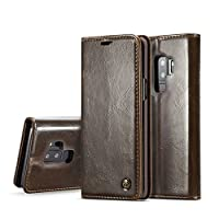 Capa Carteira para Galaxy S9 Plus, CASEME Wallet [MAGNÉTICO][COURO][DINHEIRO e 2 CARTÕES], Samsung Galaxy S9 Plus (G965) - Preta