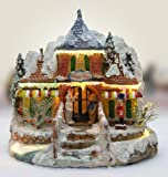BANBERRY DESIGNS Christmas Snow Village Norther Lights Toy Store with Fiber Optic and LED Color Changing