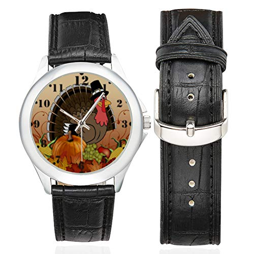 Thanksgiving Day Gifts Turkey Womens Classic Leather Strap Watch