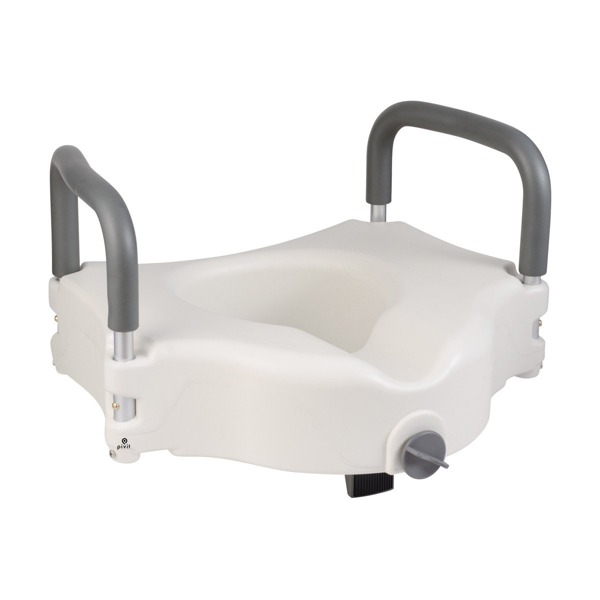 Pivit Locking Raised Toilet Seat with Removable Padded Arms - Lightweight & Portable Elevated Seat Riser with Padded Handles - Toilet Seat Lifter for Bathroom Safety Fits Most Toilets - Prevents Falls
