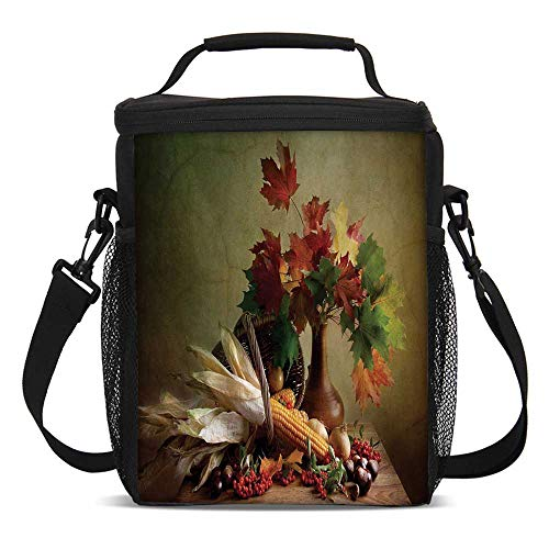 Table Harvest Picnic - Harvest Fashionable Lunch Bag,Photograph from Death of the Nature Season Fall Vegetables and Leafs Wooden Table for Travel Picnic,One size