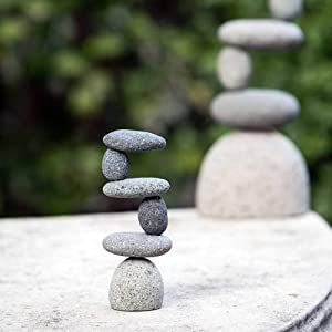 Mini Side 2 Side Rock Cairn Sculpture Garden Decoration Zen Garden Pile Stone