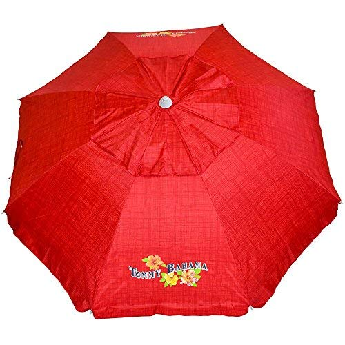 Tommy Bahama Sand Anchor 7 feet Beach Umbrella with Tilt and Telescoping Pole (Red Stripe) by Tommy Bahama