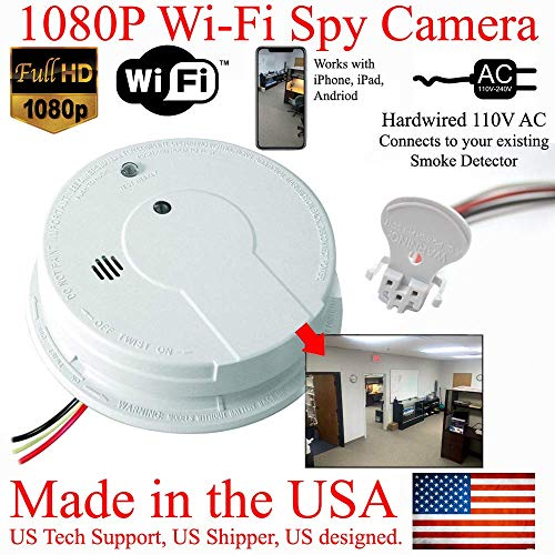 SecureGuard 1080P HD WiFi Smoke Detector Spy Camera Wireless IP Cloud P2P Wi-Fi Mobile Covert Hidden Nanny Cam Spy Camera Gadget (Replace Your existing Fire Alarm, 110V AC Quick Connector, See Pics) ()