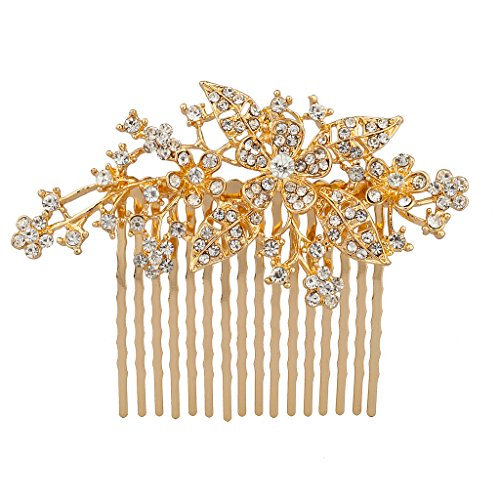(Lux Accessories Metal Pave Crystal Floral Flower Tree Branch Leaf Bridal Wedding Hair Comb )