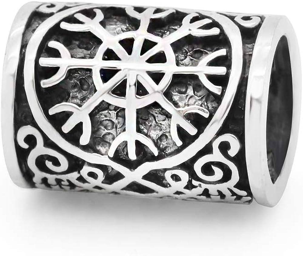 Brújula de plata de ley 925 con nudo celta vikingo, para pelo, rastas y barbas, abalorio para pulseras de la marca principal