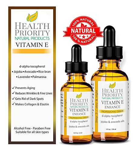 100% All Natural & Organic Vitamin E Oil For Your Face & Skin - 15000 IU - Reduces Wrinkles, Lightens Dark Spots, Heals Stretch Marks & Surgical Scars. Best Treatment for Hair, Nails, Lips, After Mask