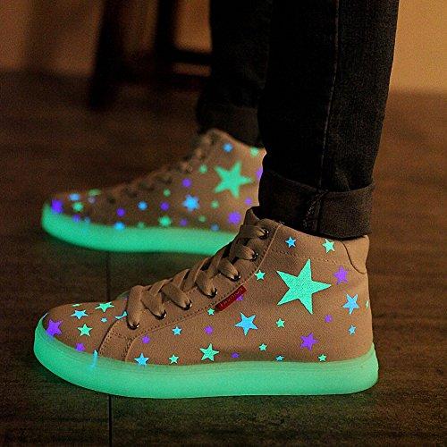 [Neues Muster] Leuchtende Nacht Segeltuchschuhe Sterne leuchten Schuhe Herrenschuhe(Weiß,41.5EU)