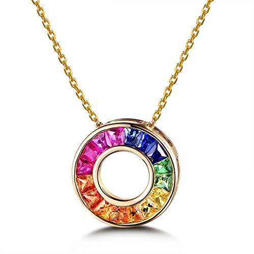 Natural Genuine Ruby Sapphire Tsavorite 14k Yellow Gold Pendant Necklace Unique Rainbow Round Circle