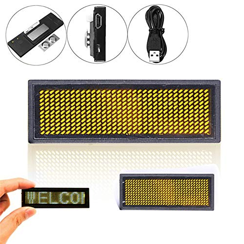 twbbt Scrolling LED Work Card,Mini Digital Name Message Tag Programmable Scrolling Badge Sign for Restaurant Shop Party Bar Exhibition (Mini Led Scrolling Text)