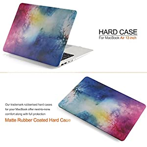 iDOO Matte Rubber Coated Soft Touch Plastic Hard Case for Macbook Air 13 inch Model A1369 and A1466 - Watercolor