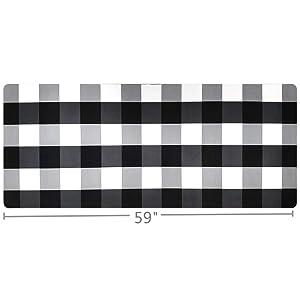 """USTIDE Buffalo Plaid Check Kitchen Runner Rug 20""""x59"""" Black&White Laundry Room Rug Rubber Back, Nonslip Floor Mat Kitchen Mat"""