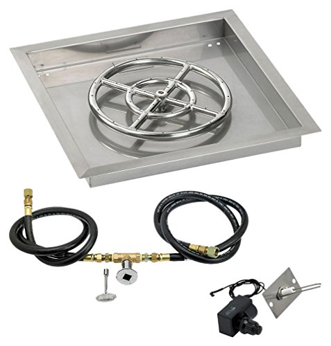 Cheap American Fireglass SS-SQPKIT-N-18 Natural Gas 18″ Square Stainless Steel Drop-In Pan with Spark Ignition Kit (12″ Fire Pit Ring)