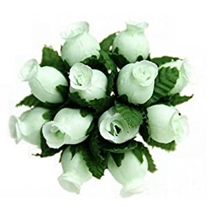 144 Poly Rose Silk Favor Flower Pick Wedding Shower - Mint Green 12