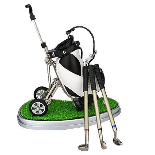 World 9.99 Mall Golf Pen Gift Mini Office Golf Pen Holder with 3 Sets Aluminum Alloy Golf Pens Golf Souvenir Tour Novelty Gift|A for Father Golf Fans Boyfriend Boy Men -