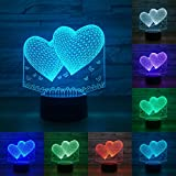 3D Visual Bulb Optical Colorful LED Table Lamp Touch Romantic Holiday Night Light Baymax Love Heart (Changeable)