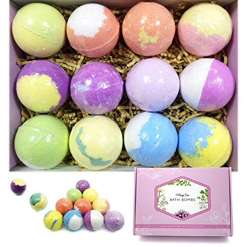 (Bath Bombs Gift Set, MarySun Bubble Bath Bombs Set of 12 PCS Natural Ingredients Colored Fizzy Bubble Bath Salts Birthday Gift Ideas for Women Mother Her Him Wife Girlfriend Kids)