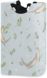 Yiaoflying Large Laundry Basket, Sea Otter Leaves Snowflakes Foldable Laundry Hamper with Handle, Durable Clothes Bag for Kids Room College Dorm Bathroom Nursery,Home Organizer