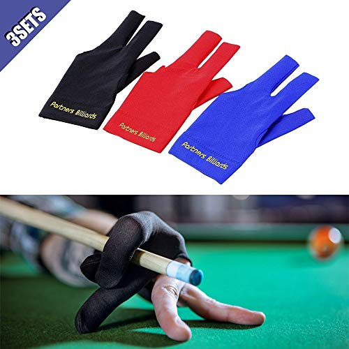 Comidox 3Pcs Man Woman Elastic Lycra Left Hand 3 Fingers Billiard Cue Glove for Shooters Carom Pool Snooker Cue Sport Red&Blue&Black