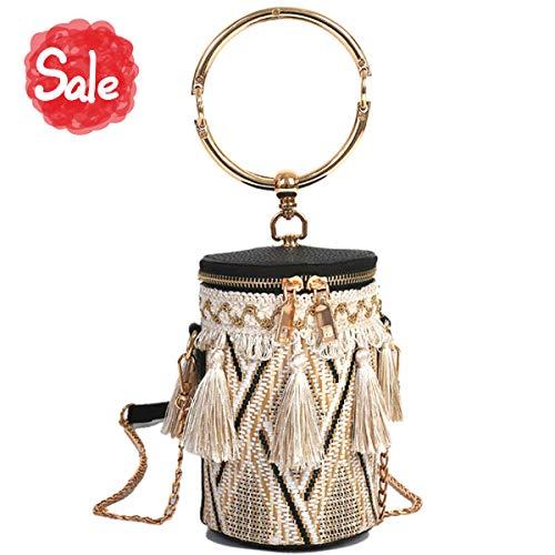 Tassels Woven Bucket Bag, Crossbody Bag For Women, Fashion Handlebag and Purses, Bag with Metal Chain Strap, travel, shopping