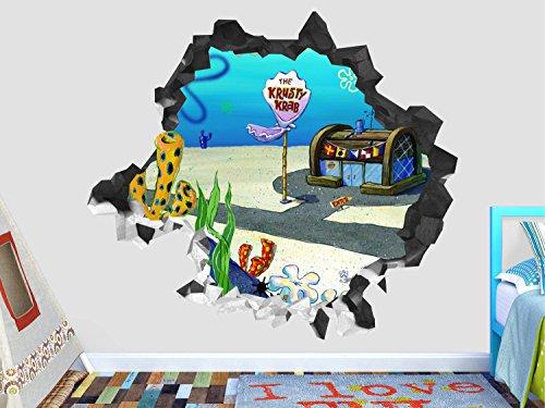 Sponge Bob The krusty krab Wall Decal Smashed 3D Sticker Vinyl Decor Mural Kids - Broken Wall - 3D Designs - OP532 (Medium (Wide 30