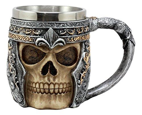 (Ebros Royal Fleur De Lis Centurion Helmet Skull Coffee Mug 11oz Beer Stein Tankard Medieval Sculptural Decor Figurine)