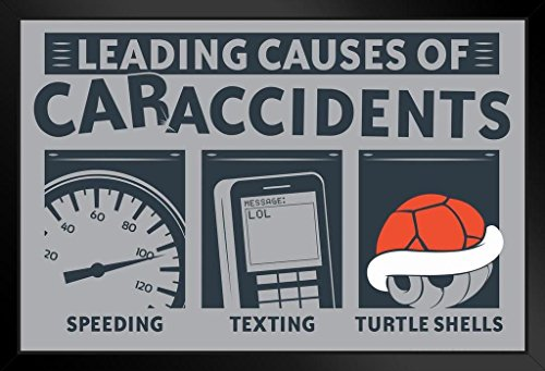 Leading Causes of Car Accidents Turtle Shells Humor Framed Poster 20x14 inch -