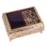 Gold Finish Metal and Glass Jewelry Music Box with Swarovski Crystals - Plays Song Fur Elise