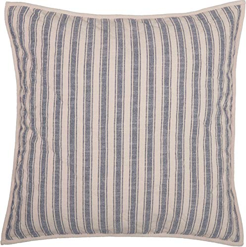 Piper Classics Market Place Blue Ticking Stripe Quilted Euro Sham, 26