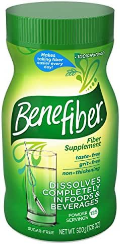 Benefiber Daily Prebiotic Dietary Fiber Supplement Powder for Digestive Health, 100% Natural, Clear & Taste-Free, 125 Servings of Fiber Powder, 17.6 oz