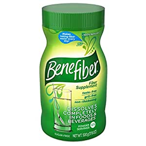 Benefiber Daily Prebiotic Dietary Fiber Supplement Powder for Digestive Health, 100% Natural, Clear and Taste-Free, 125 servings/17.6 ounces