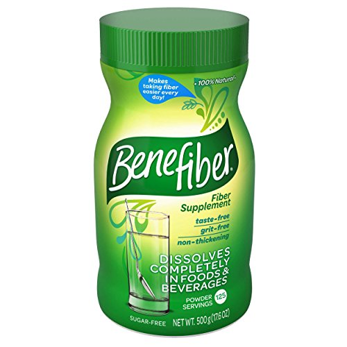 Benefiber Daily Prebiotic Dietary Fiber Supplement Powder for Digestive Health, 100% Natural, Clear and Taste-Free, 125 servings / 17.6 ounces