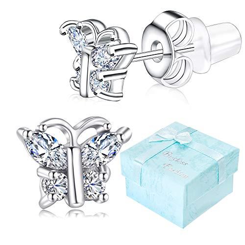 Buyless Fashion Girls Butterfly Birthstone Stud Earrings Cubic Zirconia Jewelry - E124BBAPR
