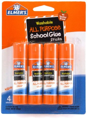Elmers Washable All-Purpose School Glue Stick 0.24 oz Pack of 4 (E542)