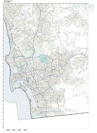 Amazon.com: ZIP Code Wall Map of San Diego, CA ZIP Code Map ...