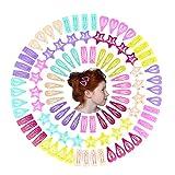QtGirl Snap Star Hair Clips Metal Hair Barrettes for Little Girl, 100 Pcs Non Slip Mini Hair Clip for Toddler Girls Kids and Woman