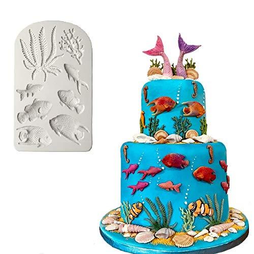 (Joinor Marine Theme Silicone Fondant Mold, Seaweed, Coral, Fish DIY Handmade Baking Mold Mermaid Theme Cake Decorating Sugarcraft)