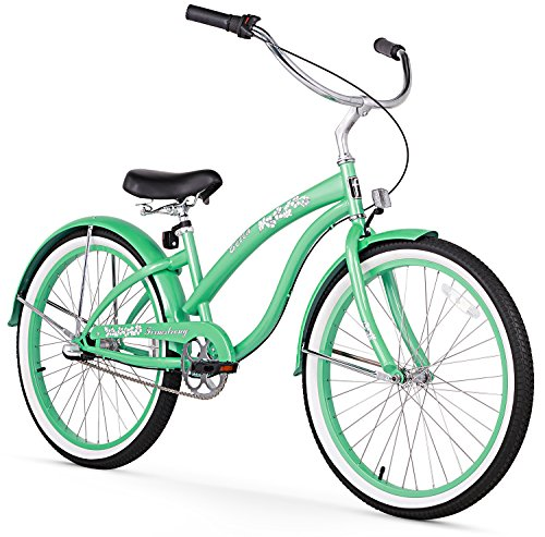 Firmstrong Bella Classic 3-Speed Beach Cruiser Bicycle, 24-Inch, Mint Green