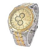 Souarts Men Steel Round Analog Quartz Wrist Watch Gold Color Dial