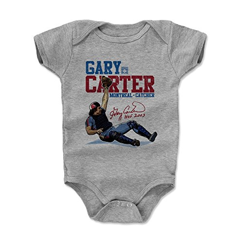 500 LEVEL Gary Carter Baby Clothes, Onesie, Creeper, Bodysuit 6-12 Months Heather Gray - Vintage Montreal Baseball Baby Clothes - Gary Carter Stance B