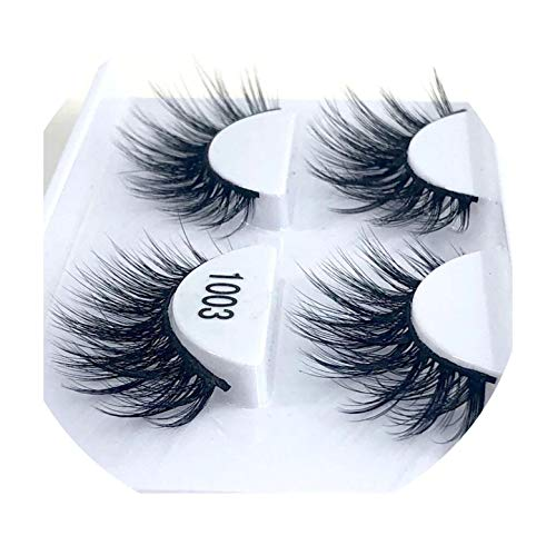 (Peony red 2 pairs natural false eyelashes fake lashes long makeup 3d mink eyelashes eyelash extension mink eyelashes for beauty,1003)