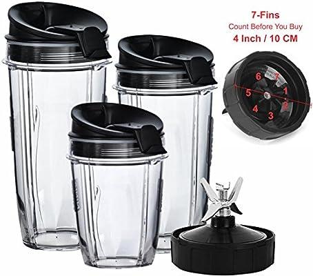Nutri Ninja licuadora tazas y hoja (7-fins Juego de sólo) | Juego ...