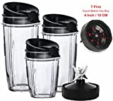 7 cup blenders - Nutri Ninja Blender Cups and Blade (7-FINS ONLY) Set | 7-Piece Replacement Parts & Accessories for Nutri Ninja Auto iQ BL482 BL642 NN102 BL682 BL2013 Blenders